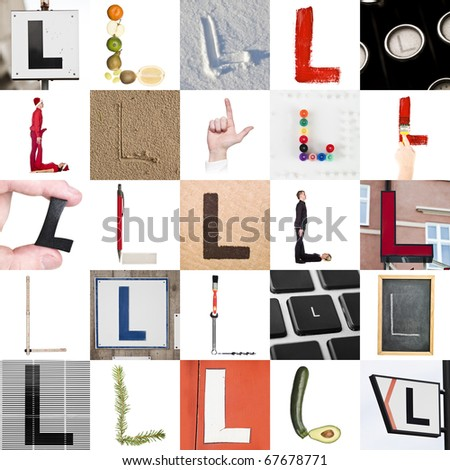 Collage of images with letter L