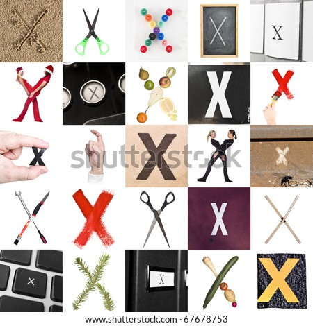 Collage of images with letter X