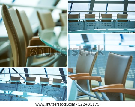 Collage of images with modern boardroom meeting
