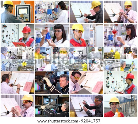 Collage of images with people from different professions at work.\ People at work. Professional Occupation. Working People.