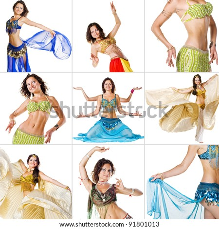 Collage of images with young Belly Dancer girl. isolated on white - stock photo