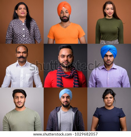 Collage Of Indian Group Of People In Square Crop