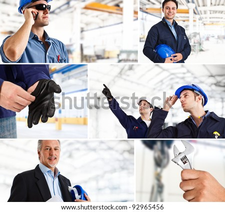 Collage of industrial workers in action