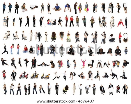 collage of isolated people over white background