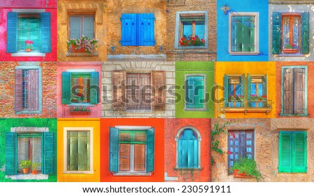 collage of Italian rustic windows in hdr tone mapping effect