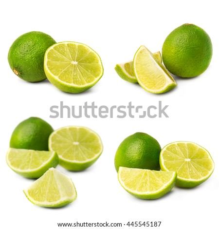 Collage of juice lime on white background #445545187