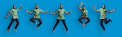 Collage of jumping and dancing black guy in traditional african clothes, blue studio background, panorama. Emotional african american man in tribal costume having fun, creative image