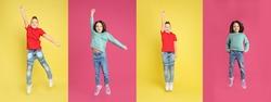 Collage of jumping schoolchildren on color backgrounds. Banner design