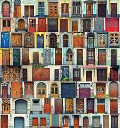 Collage of Kiev front doors,Ukraine