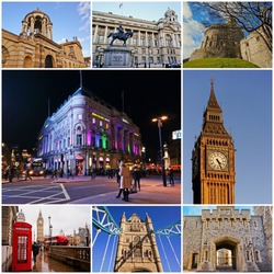 Collage of Landmarks in the United Kingdom - Oxford, Big ben, London bridge, Piccadilly Circus, Whitehall