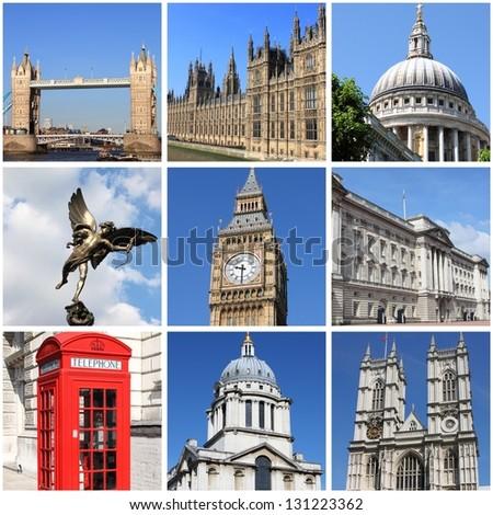 Collage of landmarks of London, UK - stock photo