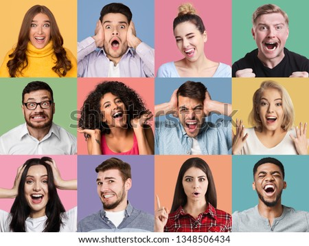 Collage of male and female emotional portraits. Young diverse people grimacing and gesturing at colorful studio backgrounds #1348506434