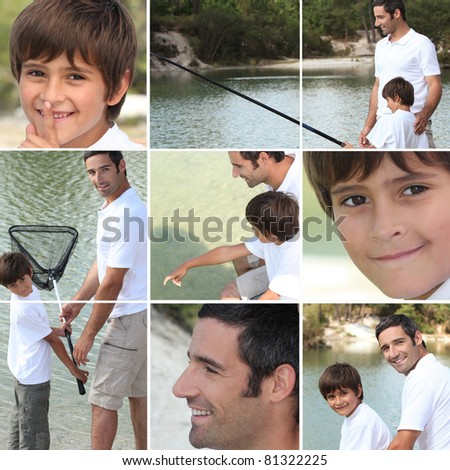 Collage of man with little boy fishing