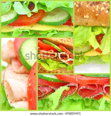 Collage of many different fresh sandwiches with cheese or ham