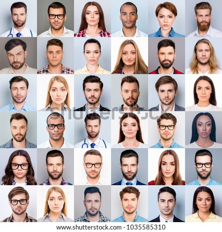 Collage of many diverse, multi-ethnic people's close up heads, beautiful, attractive, handsome, pretty expressing concentrated, thoughtful, dreamy emotions, isolated on grey background