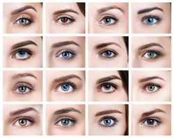 Collage of many female eyes with different color.