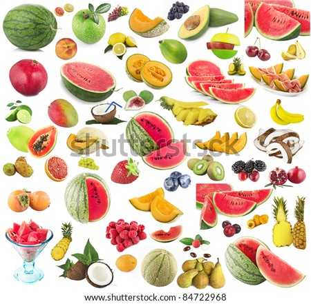 Collage of many fresh fruits - stock photo