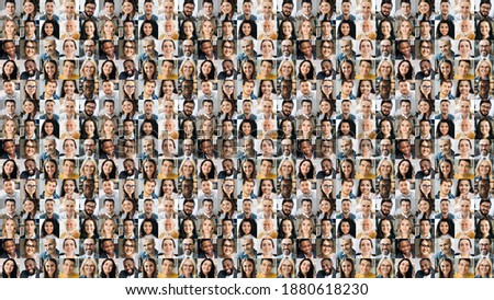Collage of many multiracial business successful people of different age looking at camera. Business group of smiling successful faces on a screen of computer or laptop