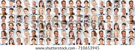 Shutterstock Collage of many portraits of business people as international team