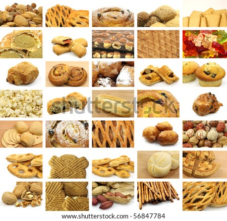 Collage of many snacks, bread, cookies,  sweet rolls and candy
