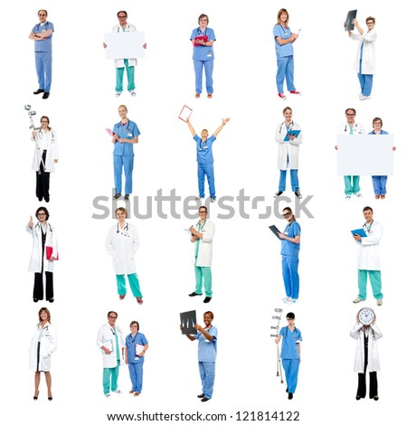 Collage of medical specialists over white background.