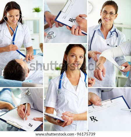 Collage of medical staff working indoors, examining patient and filling the blanks - stock photo