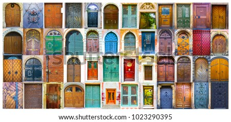 Collage of medieval front doors at Prague, Czech Republic, Venice, Italy and Salzburg, Austria.