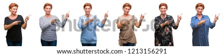 Collage of middle age senior woman over white isolated background smiling and looking at the camera pointing with two hands and fingers to the side. #1213156291