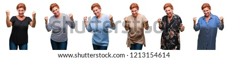Collage of middle age senior woman over white isolated background very happy and excited doing winner gesture with arms raised, smiling and screaming for success. Celebration concept. #1213154614