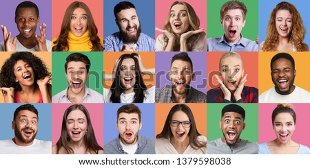 Collage of millennials emotional portraits. Young diverse people grimacing and gesturing at colorful backgrounds
