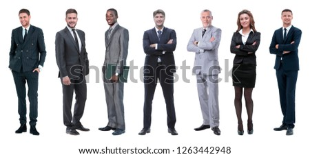 Collage of mixed age group of focused business professionals #1263442948