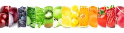 Collage of mixed fruits and vegetables on white background