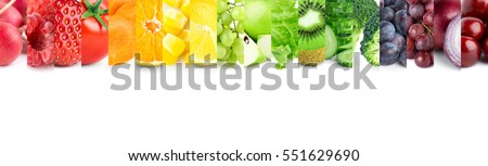 Collage of mixed fruits and vegetables on white background - Shutterstock ID 551629690