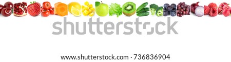 Collage of mixed fruits and vegetables on white background. Fresh food - Shutterstock ID 736836904