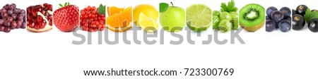 Collage of mixed fruits on white background. Fresh food - Shutterstock ID 723300769