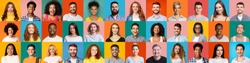 Collage of mixed race happy people on bright backgrounds, panorama