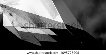 Collage of modern architecture photos with angular structure. Abstract black and white building in dramatic light.