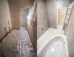 Collage of modern bathroom with marble floor before and after renovation. Comparison of old restroom with underfloor heating pipes and new washroom with heated towel rail and while bathtub.