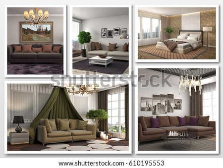 Collage of modern home brown interior. 3d illustration #610195553