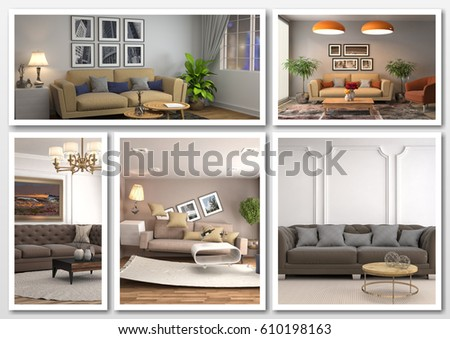 Collage of modern home brown interior. 3d illustration #610198163