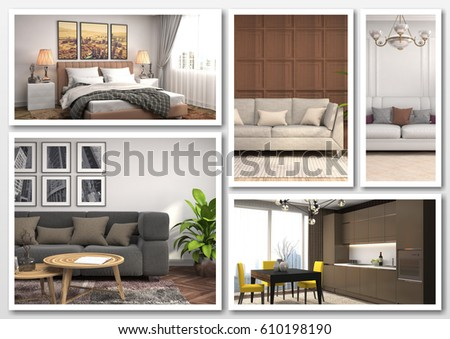Collage of modern home brown interior. 3d illustration #610198190