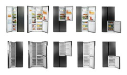 Collage of modern refrigerators on white background