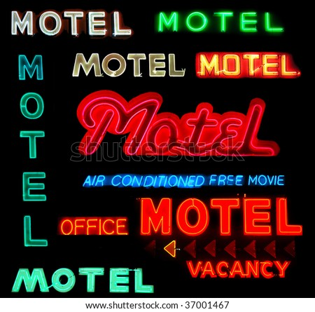 collage of motel neon signs...