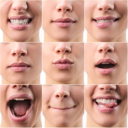 Collage of mouths detail with different expression