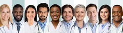 Collage Of Multiethnic Doctors And Medical Workers Portraits On White And Blue Backgrounds, Wearing Uniform. Happy Diverse Physicians And Nurses Headshots Collection. Panorama