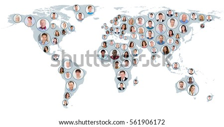 Collage Of Multiethnic People On World Map At White Background. Global Business Concept