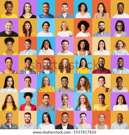 Collage of multiracial people portraits with faces over colorful backgrounds