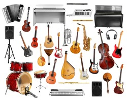 Collage of musical instruments isolated on white