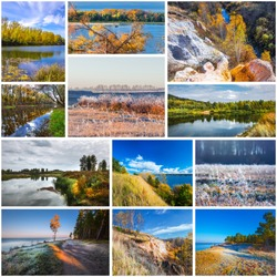 Collage of nature photos of the autumn season. Novosibirsk region, Western Siberia, Russia