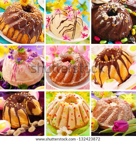 collage of nine various easter ring cakes collection